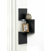 Shelves ZIG ZAG 2 TIER CORNER WALL SHELF BLACK Wood