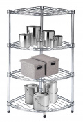 Diamond Home Wire Shelf 4 tier Corner Chrome