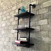 Industrial chic, 3-tiered etagere wall mounted pipe shelf rack multipurpose, metal with reclaimed wood finish