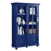 Contemporary Modern Wood Navy Blue Media Cabinet Storage Bookcase with Sliding Glass Door & 4 Shelves - Includes Modhaus Living Pen