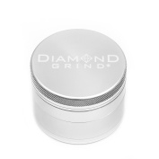 """Diamond Grind 4 Piece Aluminium Herb Grinder with screen 63mm (2.50"""") SILVER"""