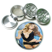 """Thai Thailand Pin Up Girls Model S10 Chrome Silver 2.5"""" Aluminium Magnetic Metal Herb Grinder 4 Piece Hand Muller Herb & Spice Heavy Duty 63mm"""