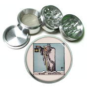 """Tarot Card The Hermit S6 Chrome Silver 2.5"""" Aluminium Magnetic Metal Herb Grinder 4 Piece Hand Muller Herb & Spice Heavy Duty 63mm"""