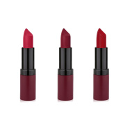 GR Cosmetics Long Lasting Rich Velvet Matte Lipstick 3 Piece Red Set, Enriched With Vitamin E - Full Size Tubes Paraben-Free, Cruelty-Free