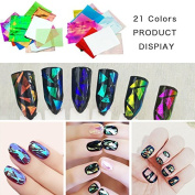 KADS 21pcs/pack Holographic DIY Nail Art Broken Glass Foil Finger Stencil Decal Sticker 21 Colours Nail Art Mirror Manicure Tool