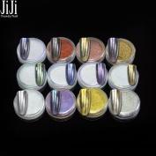 12 Bottles/Lots 1g Nail Art Glitter Mirror Eye Shadow Makeup Powder Dust Nail Decoration Magic Glimmer for Nail Polish 1- 12