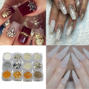 1g 12pcs/lot Mix Designs Gold Sliver Nail Glitter Powder Shinning Nail Art DIY Chrome Sequins Glitters Sparkly GS