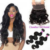 Maysu Hair 360 Lace Band Frontal with 2 Bundles 16 16 +14 Brazilian Body Wave with Frontal Human Hair Weave with Pre Plucked 360 Frontal Closure Natural Colour for Black Women