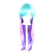 Haku - Fade Aqua Green to Cotton Candy Pink to Lavender Purple Wig 70cm Long Straight Layered