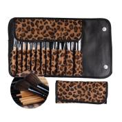 Lookatool 12 PCS Pro Makeup Brush Set Cosmetic Tool Leopard Bag Beauty Brushes
