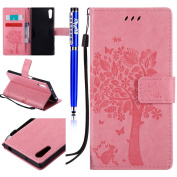 FESELE Sony Xperia XZ Case PU Leather Flip Wallet Case [Butterfly Tree Flower Cat Pattern] Embossing PU Leather Bookstyle Wallet Case Magnetic Closure with Stand Function PU Leather Wallet Flip Cover Sleeve Card Slot and Banknotes Pocket with Hand Stra ..