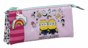 Minions 811745744 3 Girl Pencil Case, 22 cm, Pink