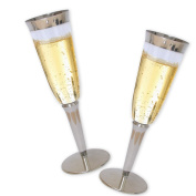 High Quality Hard Plastic Champagne Flutes With Silver Rim And Base. 180ml Capacity, Set of 16 Disposable Glass Drinkware.