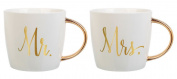 Slant Set of 2 410ml Ceramic Coffee Mugs - Mr & Mrs