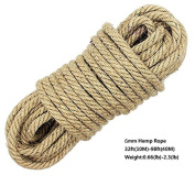 100% Natural Hemp Cord Ropes - LUOOV® 6mm Thickness and Strong Jute Rope Sash,Camping Rope ,Garden, Boating, Tug of war, Pets,Climbing rope,Multi Purpose Utility Sisal Twine Rope,10m(32ft)-40m