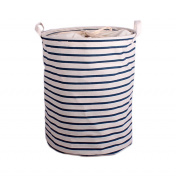 Toy Storage Container Laundry Canvas Baskets Bins Bag Blue Stripe Pouch Organisers for Nursery & Kid's Room by HeiYi