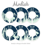 Modish Labels Baby Nursery Closet Dividers, Closet Organisers, Nursery Decor, Baby Boy, Woodland, Tribal, Woodland Animals, Bear, Fox, Deer, Navy Blue, Mint