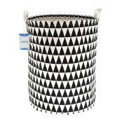 Jacone . Triangle Pattern Design Storage Basket Cotton Fabric Cylindric Nursery Laundry Hamper with Handles,Decorative and Convenient,50cm by 40cm