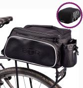 BTR 10-Litre Pannier Bike Bag with Waterproof & High Visibility Rain Cover & Cargo Net, Black