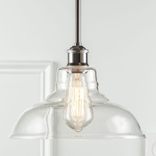Lucera Stem Mount Factory Pendant Light. Polished Chrome Fixture with 28cm Clear Glass Shade, Adjustable Hanging Height, Modern Vintage Farmhouse Kitchen Lamp. UL Listed Linea di Liara LL-P431-PC