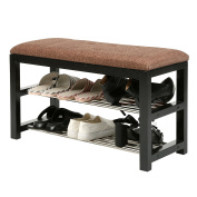 2-Tier Metal Shoe Rack Storage Organiser / Shoe Bench with Wooden Frame and Cushion, Entryway Bench