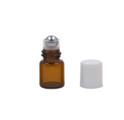 Amber Glass Roller Botttles 25 Pcs Refillable Empty Perfume Aromatherapy Essential Oil Lip Balm Roll on Bottles Container With White Cap