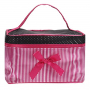 Makalon Square Bow Stripe Cosmetic Bag