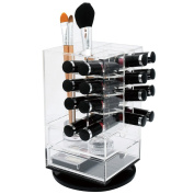 Ikee Design Acrylic Rotating Makeup Cosmetic Lipstick Lip Gloss Rack Organiser Storage Tower Stand with 2 Drawers