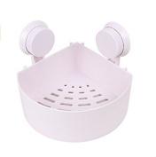 Bath Corner Shelf Plastic Bathroom Kitchen Wall Corner Basket Suction Cup Shower Storage Organiser Holder for Shampoo Conditioner Soap