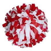 Pair, 15cm Plastic Cheerleading Pom Pom with Baton Handle
