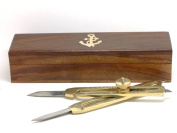 Solid Brass Proportional Divider Drafting tool 23cm with Anchor Inlaid Box.