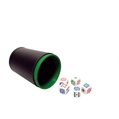 Set of 5 Poker Dice with Professional Leather Dice Cup, Great for Travel - Cubilete Leather Dice Cup