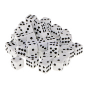 Shalleen 12mm 50Pcs Opaque Six Sided Spot Dice Games D6 RPG Playing Toys White