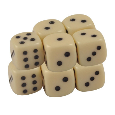 Set of 10 Ivory Opaque Round Corner Dice 12mm Black Spots in Snow Organza Bag