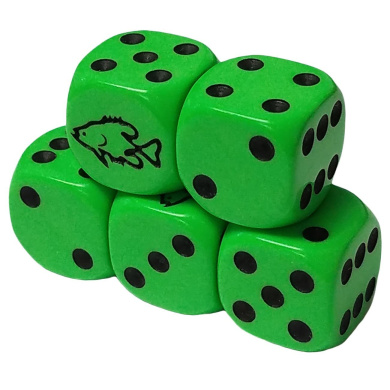 Set of 5 Fish Lime Green Dice Round Corner Opaque 16mm Black Spots in Snow Organza Bag