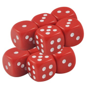 Set of 10 Red Opaque Round Corner Dice 12mm White Spots in Snow Organza Bag