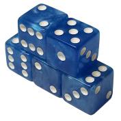 Set of 5 Blue White Marbleized Square Corner Dice 16mm in Snow Organza Bag