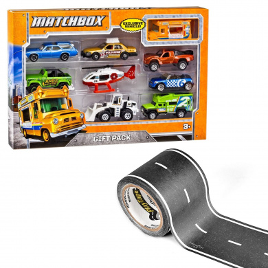 PlayTape Classic Black Road Bundle: 9.1m x 5.1cm Straight Road - Matchbox 9-Car Gift Pack (Styles Vary) - 2 Items Bundled by Maven Gifts