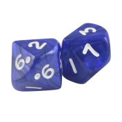 Pack of 2 Trapezohedron 10 Sided Pearlized Navy Blue Polyhedral Dice in Snow Organza Bag