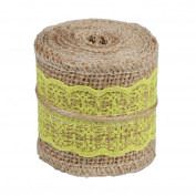 vLoveLife Natural Burlap Craft Ribbon Roll with Yellow Lace DIY Handmade Christmas Wedding Crafts Lace Linen - 6.1cm x 200cm