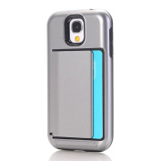 Galaxy S4 Case,ARSUE Dual Layer Protective Shell Shockproof Card Slot Holder Rubber Bumper Hybrid Case Cover for Samsung Galaxy S4 - Grey