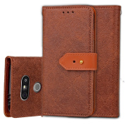 LG G5 Case, ARSUE Premium Emboss Flower Soft PU Leather Wallet Case Flip Cover Skin with Card Slot for LG G5 2016 - Brown