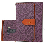 LG G3 Case, ARSUE Premium Emboss Flower Soft PU Leather Wallet Case Flip Cover Skin with Card Slot for LG G3 - Purple