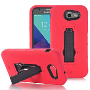 Galaxy J3 2017 Case, J3 Emerge Case, ARSUE [Shock Absorption] Hybrid Dual Layer Armour Defender Protective Case Cover with Kickstand for Samsung Galaxy J3 Emerge / Galaxy J3 (2017) - Red