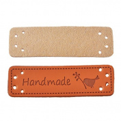 Yalulu 20Pcs PU Leather Label Simple Handmade Embossed Tag Embellishment Knit DIY Apparel Accessories