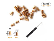 Countersunk Flat Head Phillips Recess Screws Leather Accessories for Belt Buckle Repair Includes Screwdriver 10 Pieces.