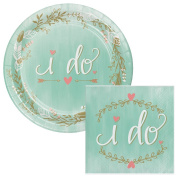 Mint to Be Wedding Dessert Plates & Napkins Party Kit for 8