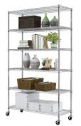 "82""×48""×18""Steel Metal Shelf New 6 Wire Tier Layer Shelves Wall Kitchen Restaurant Home Garage Display Shelving Rack Adjustable Heavy Duty with Wheels"