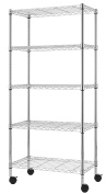 Finnhomy Heavy Duty 5 Tier Wire Shelving Unit, Adjustable Steel Wire Rack Shelving, 5 Shelves Storage Rack with Wheels or Stable Levelling Feet, Chrome