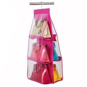 Academyus Hanging Bag Storage Organiser Wardrobe Closet Rack Hangers Tool-Pink